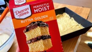 Box of Duncan Hines Perfectly Moist Butter Cake Mix